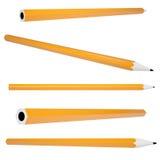 橙色办公室铅笔 库存照片