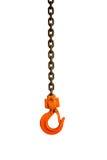 橙色勾子和生锈的链子 库存图片
