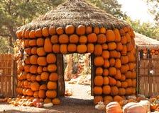 橙色南瓜小屋 库存照片