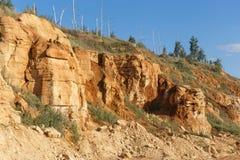 橙色含沙峭壁或岩石 库存照片