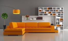 橙色和棕色客厅 免版税图库摄影