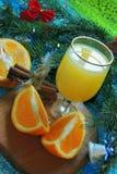 橙色和橙汁 背景新年度 免版税库存图片
