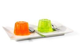 橙色和绿色果冻 免版税库存照片