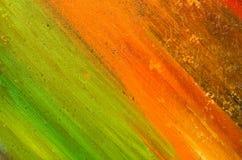 橙色和绿色油漆长的整洁的污迹  库存照片