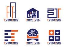 橙色和蓝色家具商标传染媒介布景 皇族释放例证