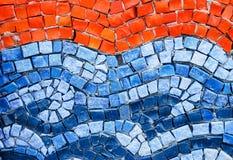 橙色和蓝色smalt马赛克 免版税库存图片