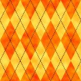 橙色和黄色水彩argyle背景 库存例证