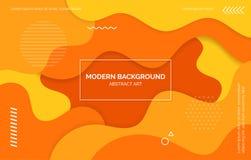 橙色和黄色波浪背景,横幅,与文本空间,抽象元素的布局 库存例证