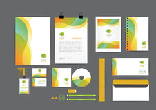 橙色和绿色与曲线图表公司本体模板 免版税库存图片