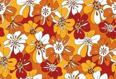 橙色和黄色花卉样式重叠的花 免版税库存图片