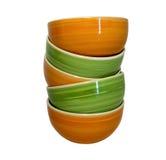 橙色和绿色陶瓷碗塔  库存照片