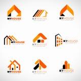 橙色和黑议院商标集合传染媒介设计 向量例证