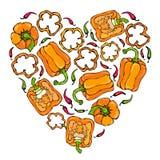 橙色响铃Peper心脏形状花圈 一半胡椒裁减甜辣椒粉和圆环  新鲜的成熟未加工的蔬菜诗歌选 免版税图库摄影
