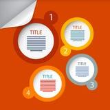 橙色圈子传染媒介纸Infographics布局 免版税库存照片