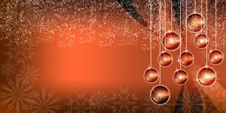 橙色圣诞节明亮的球梯度背景 免版税图库摄影