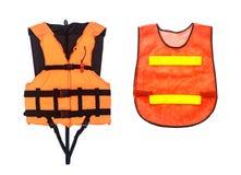 橙色在白色隔绝的救生衣和橙色背心,截去 免版税图库摄影
