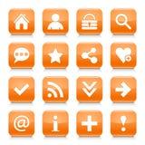 橙色基本的标志环绕了方形的象网按钮 库存照片