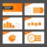 橙色多用途Infographic元素和象介绍模板平的设计集合广告营销小册子flye 库存例证