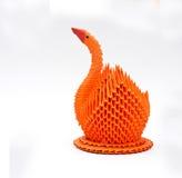橙色天鹅鸟, origami艺术 免版税图库摄影