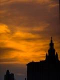 橙色太阳黑色城堡 图库摄影