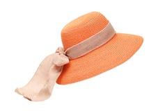 橙色夫人帽子 库存照片