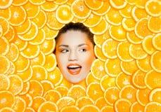 橙色女孩 免版税库存图片
