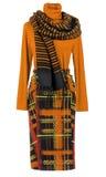 橙色女衬衫和裙子 免版税库存照片