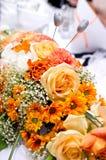 橙色婚礼花束 库存照片