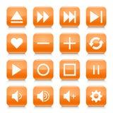 橙色媒介标志环绕了方形的象网按钮 库存图片