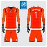 橙色守门员球衣或足球成套工具,长的袖子球衣,守门员手套模板设计 前面和后面看法橄榄球制服 皇族释放例证