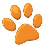 橙色宠物爪子, 3d 向量例证