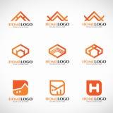 橙色家庭商标传染媒介集合艺术设计 向量例证