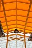 橙色屋顶和钢结构 库存图片
