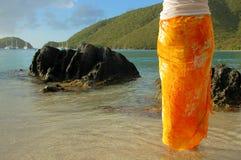 橙色布裙 免版税库存照片