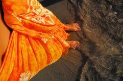 橙色布裙 库存图片
