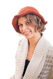 橙色帽子的少妇 图库摄影
