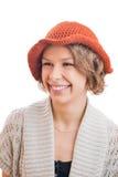 橙色帽子的少妇 库存图片