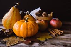 橙色微型南瓜、苹果和核桃在土气桌上与叶子 库存照片