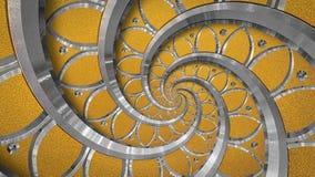橙色抽象圆的螺旋背景样式分数维 银色金属螺旋橙色装饰装饰品元素 金属纹理 免版税库存照片