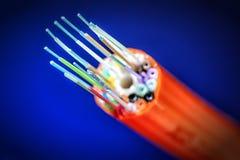 橙色捆绑光纤 免版税图库摄影