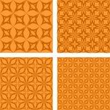 橙色无缝的样式集合 库存例证