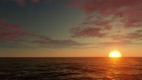橙色日落离开海 库存例证