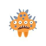 橙色有锋利的牙齿动画片传染媒介例证的星形状积极的恶性细菌妖怪 库存图片