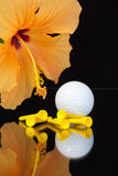 橙色木槿开花和在玻璃桌上的高尔夫用品 库存照片