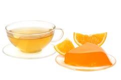 橙色果冻和茶 免版税库存照片