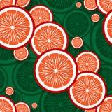 橙色果子切片图表的无缝的样式 免版税库存照片