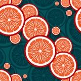 橙色果子切片图表的无缝的样式 库存图片
