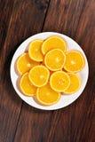 橙色果子切片,顶视图 库存图片