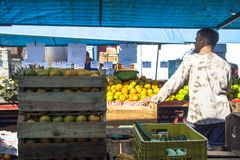 橙色果子在街市上 免版税库存照片
