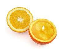 橙色果子蜡烛 免版税库存图片